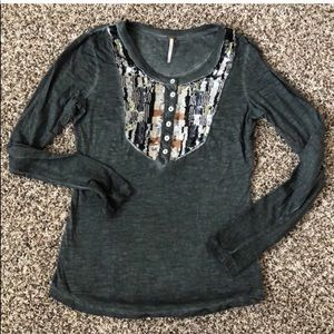 Free People Sequin LS Top Size S